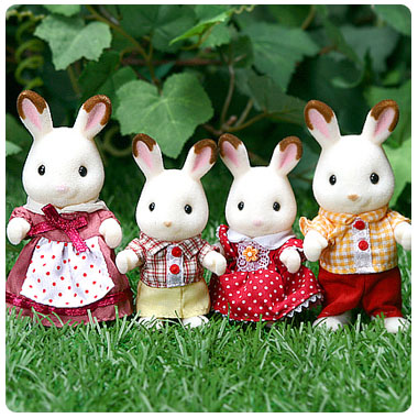 Sylvanian chocolate rabbit family photo taken from the internet