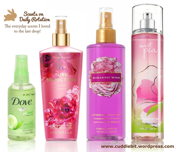 Dove body mist in Cucumber and green tea, Victoria's Secret body mist in Pure seduction, Victoria's Secret body mist in Romantic Wish and Bath and Body Works in Sweet Pea